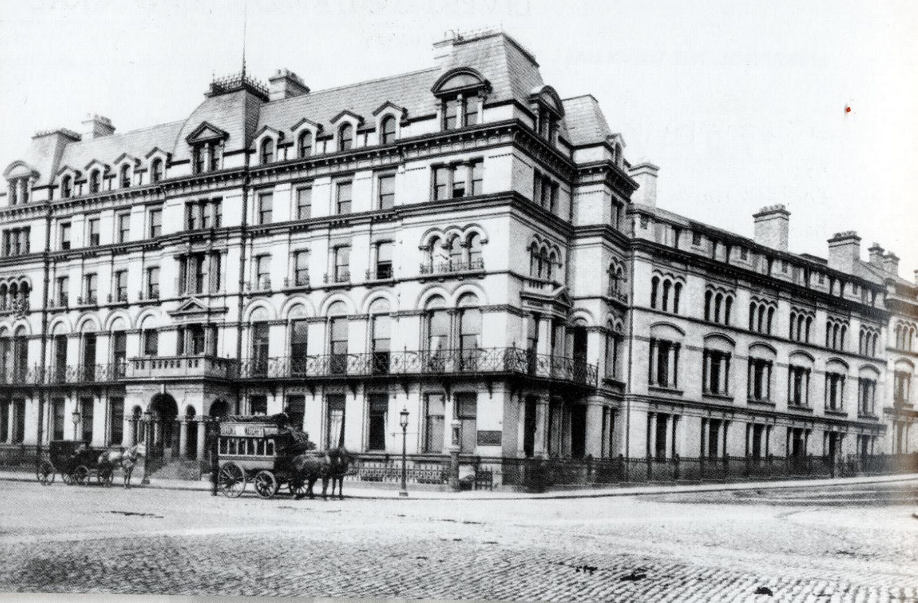 The Adelphi Hotel in 1870. This shows the original hotel that stood on the site, which was built in 1826 for the hotelier, James Radley.